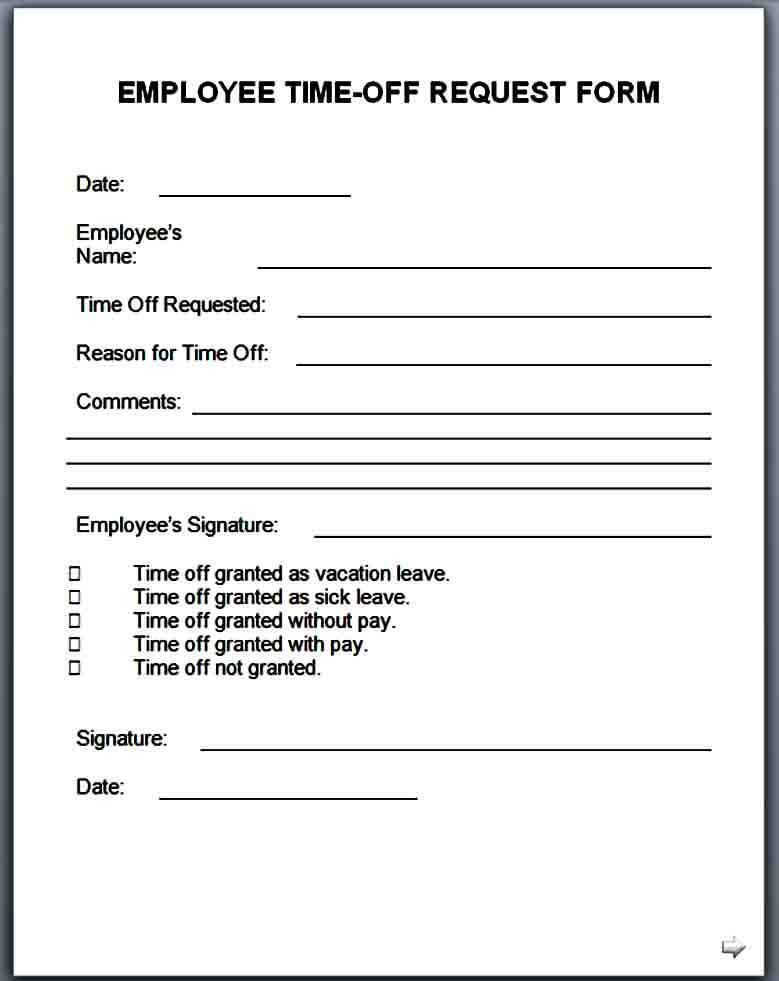 time off request form doc
