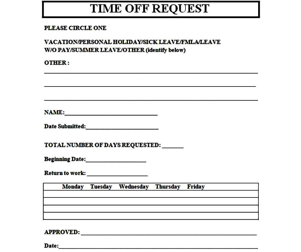 time off request form sample