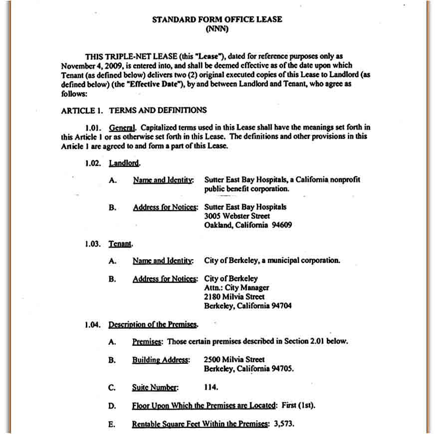 triple net lease form