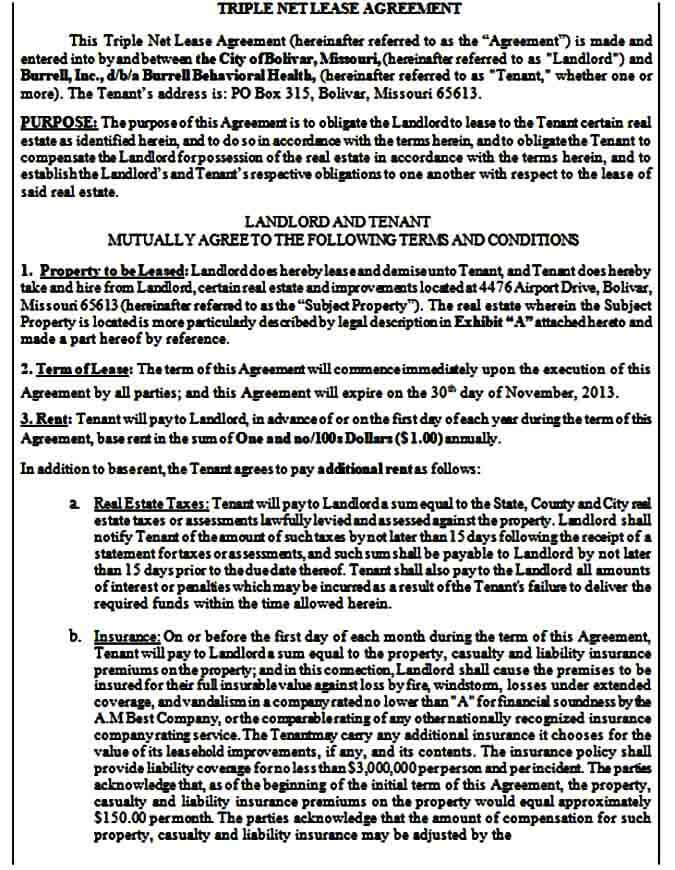 triple net lease form printable