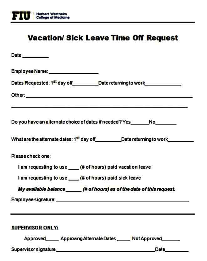 vacation time off request form