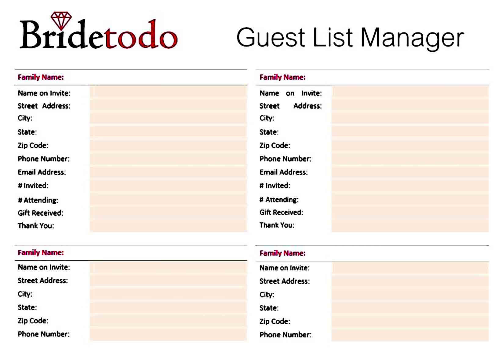 wedding guest list manager templates