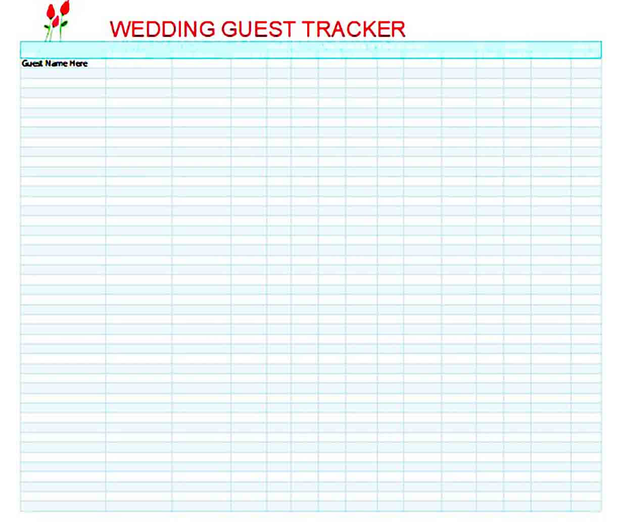wedding guest list templates excel