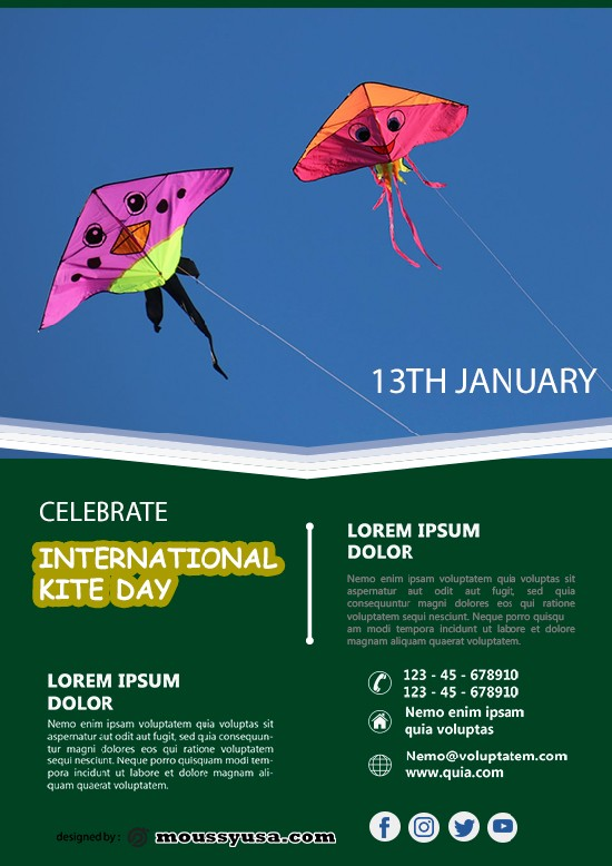 Free International Kites Day Flyer template design