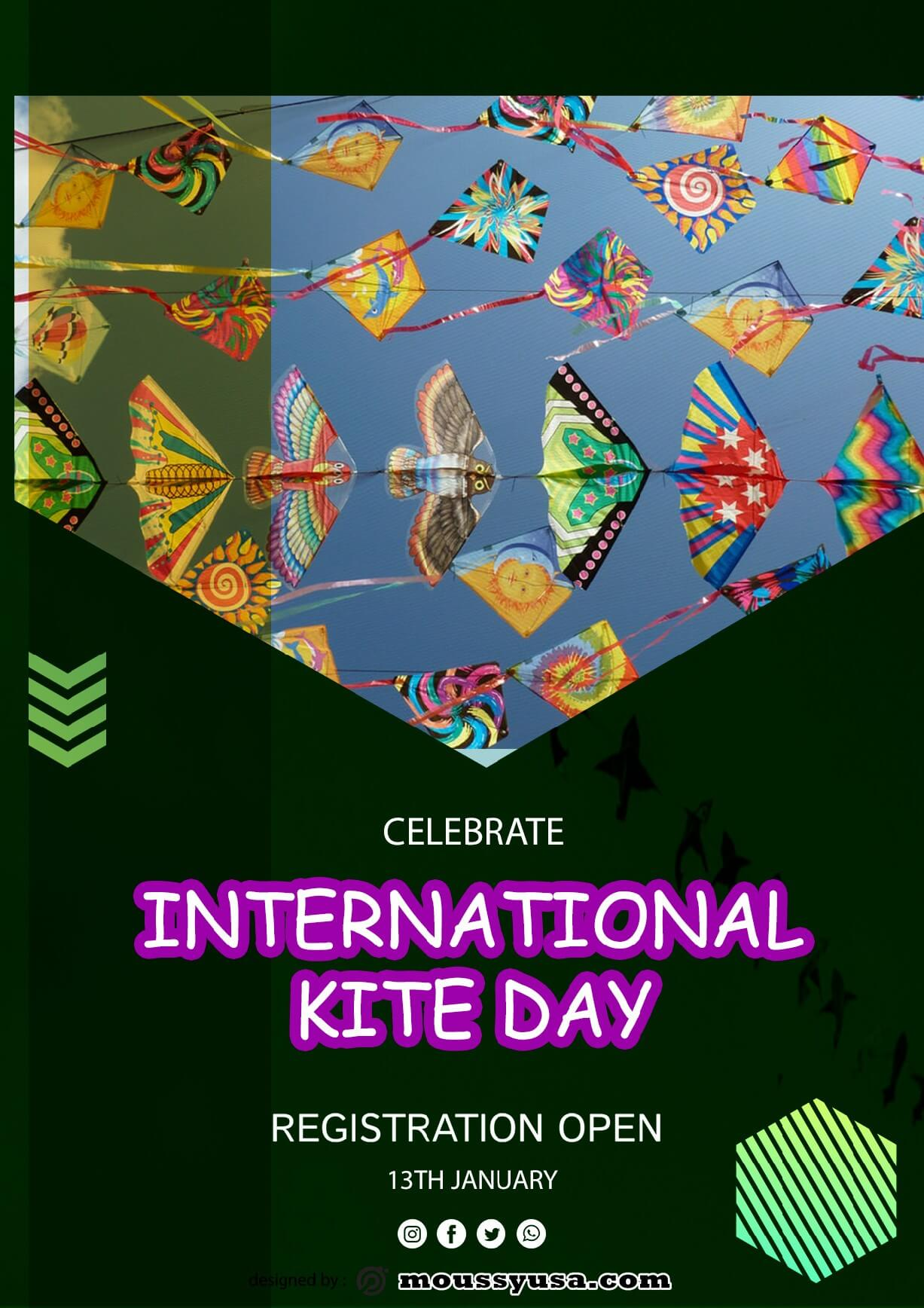 Free International Kites Day Flyer template sample