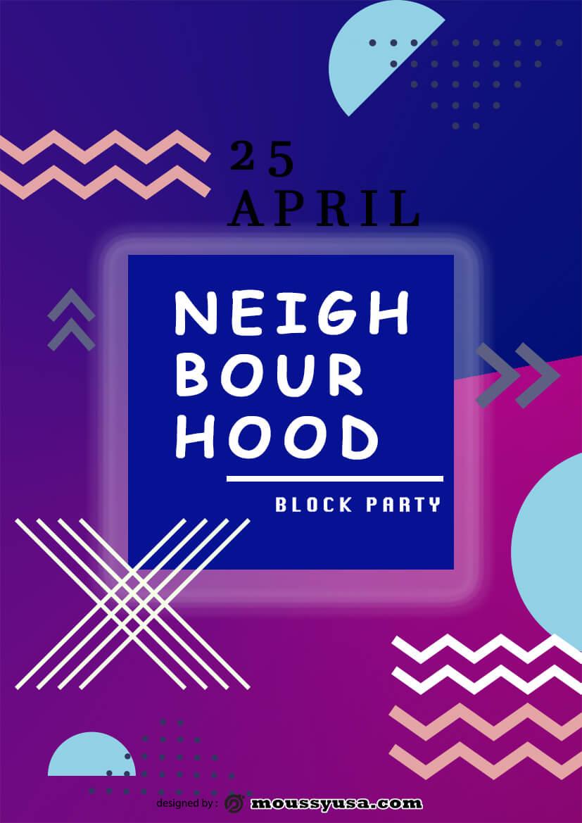 Neighbourhood Block Party Flyer template sample