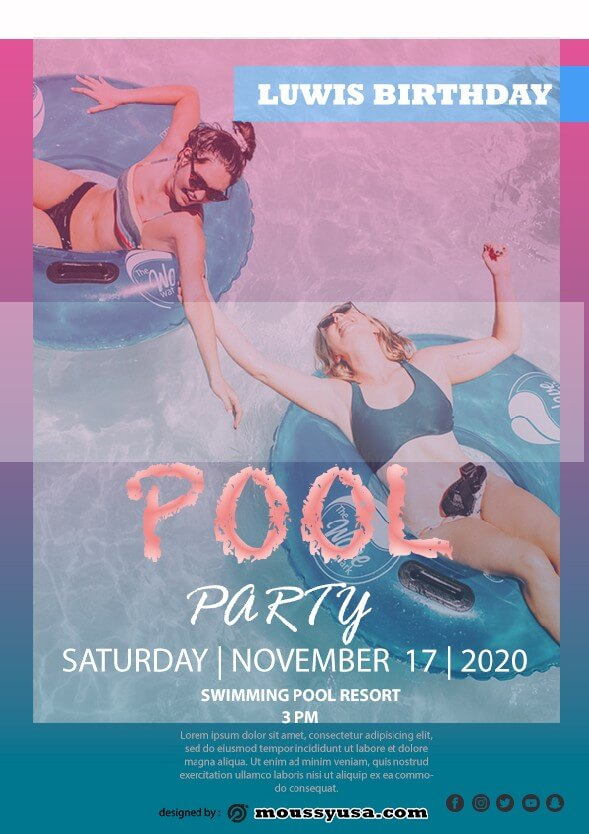 Pool Party Birthday template design