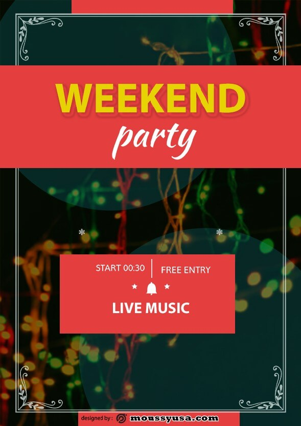 Weekend Night Party Flyer design psd