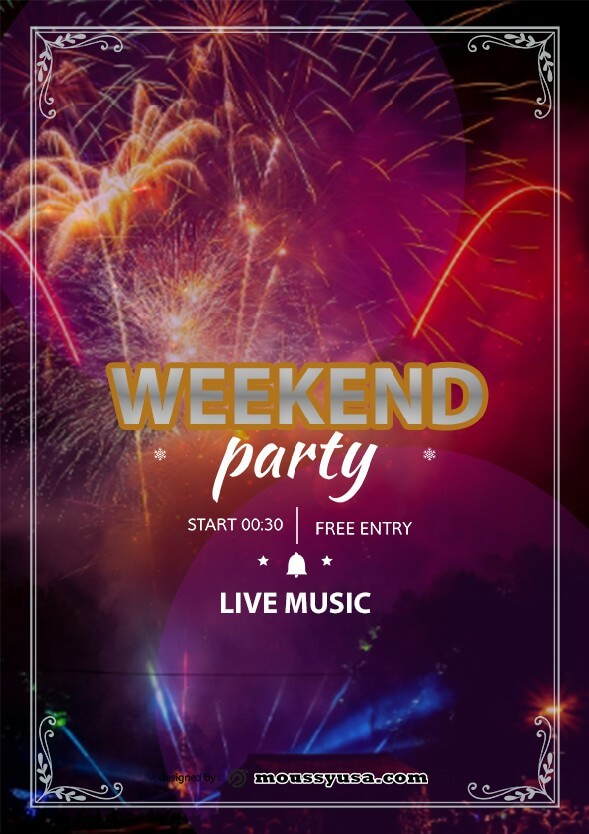 Weekend Night Party Flyer design template