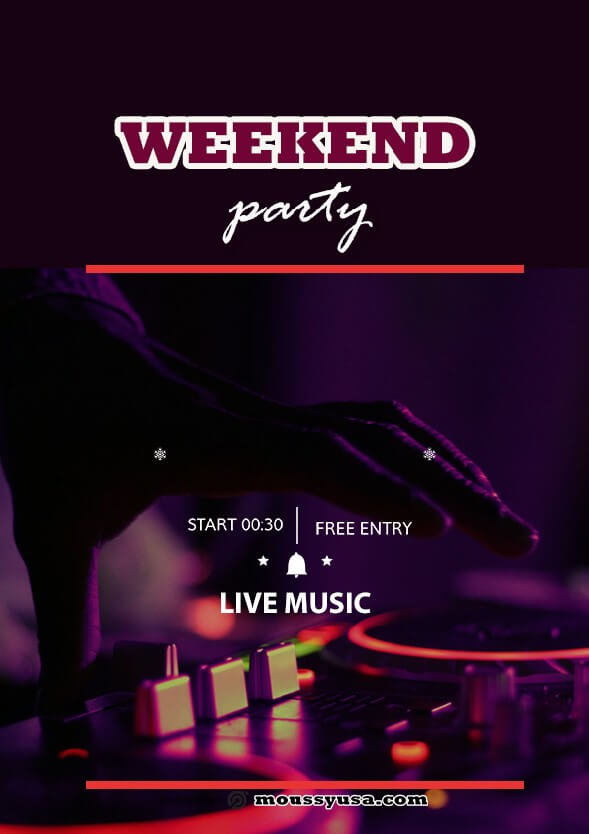 Weekend Night Party Flyer template example