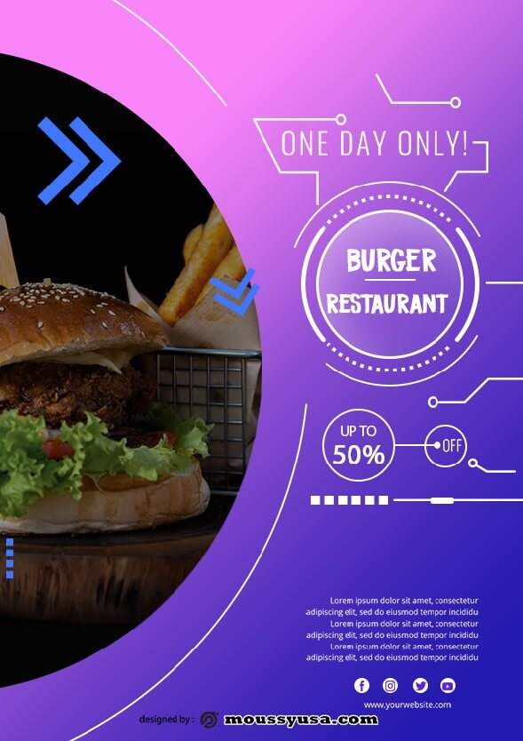 burger restaurant flyer template design
