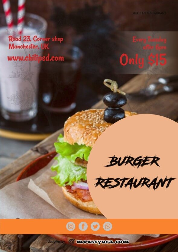 burger restaurant flyer template sample