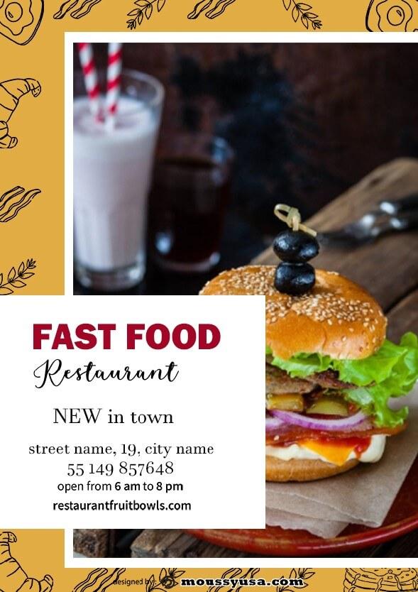 fast food restaurant flayer design template