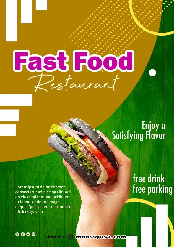 fast food restaurant flayer template design