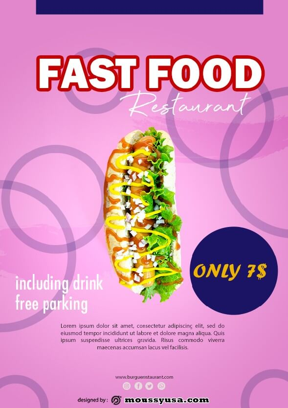 fast food restaurant flayer template example
