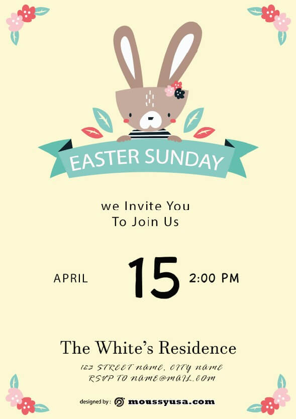 free easter sunday celebration flyer design psd