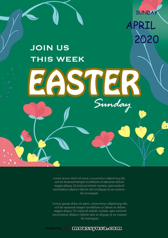 free easter sunday celebration flyer template design