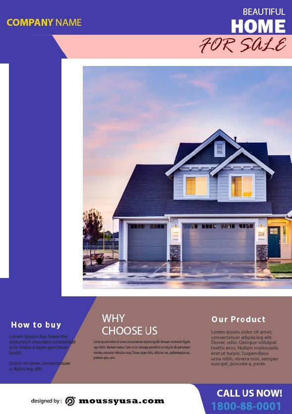 psd simple open house flyer template