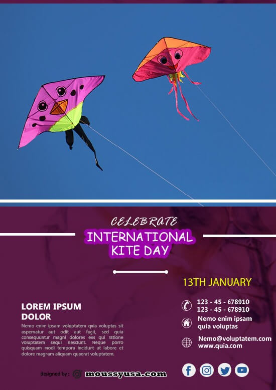 psd template for Free International Kites Day Flyer