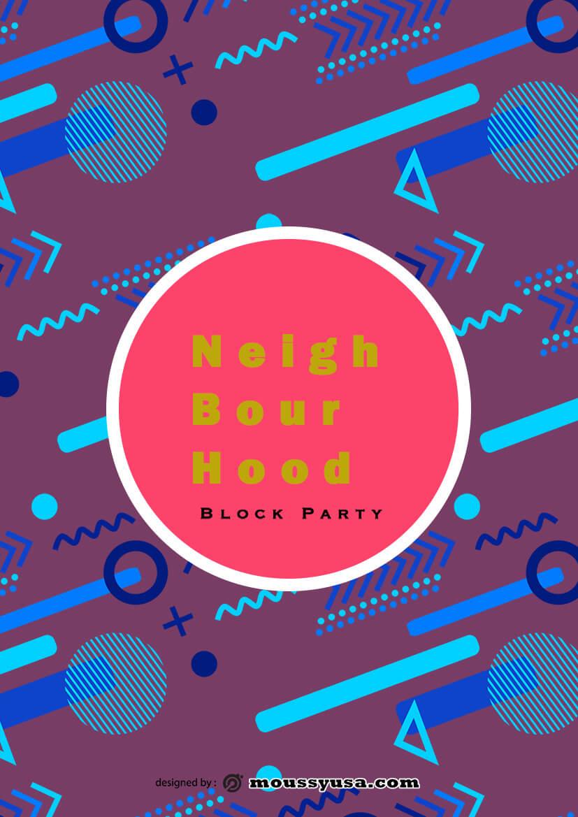 psd template for Neighbourhood Block Party Flyer