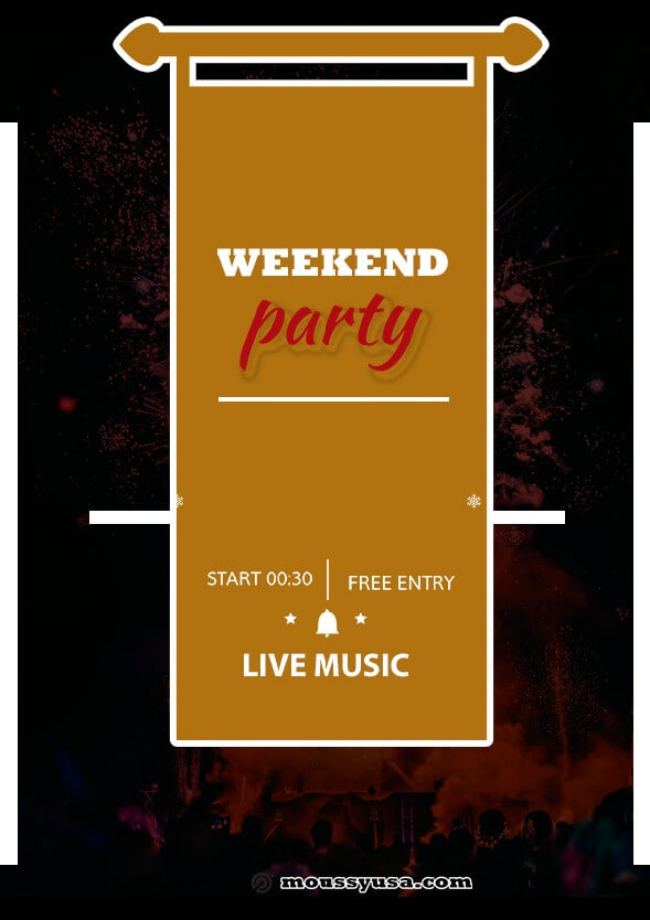 psd template for Weekend Night Party Flyer