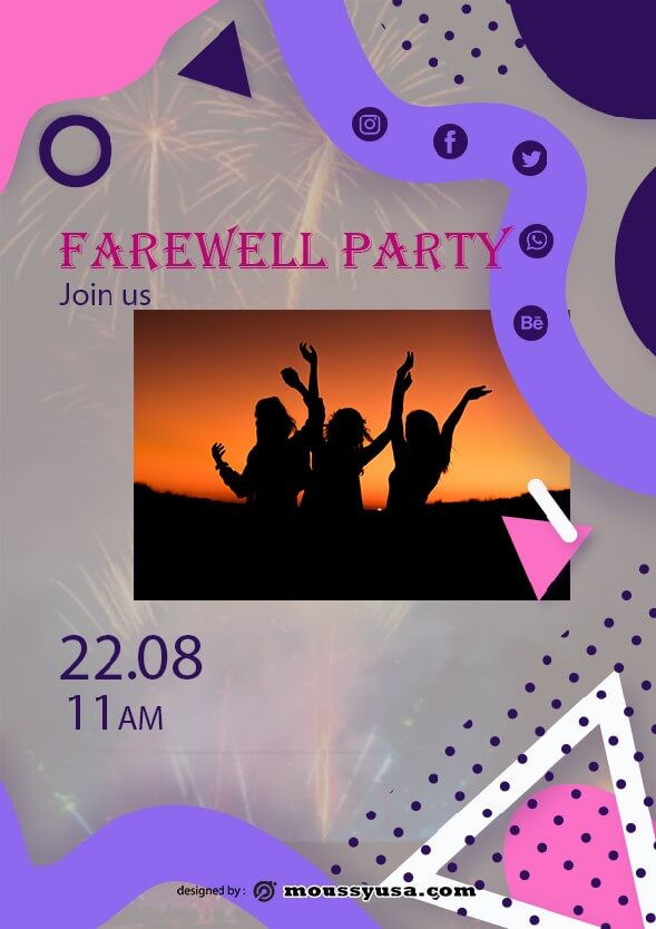 psd template for farewell party flyer