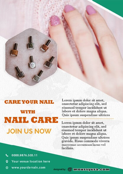 psd template for modern nail salon flyer