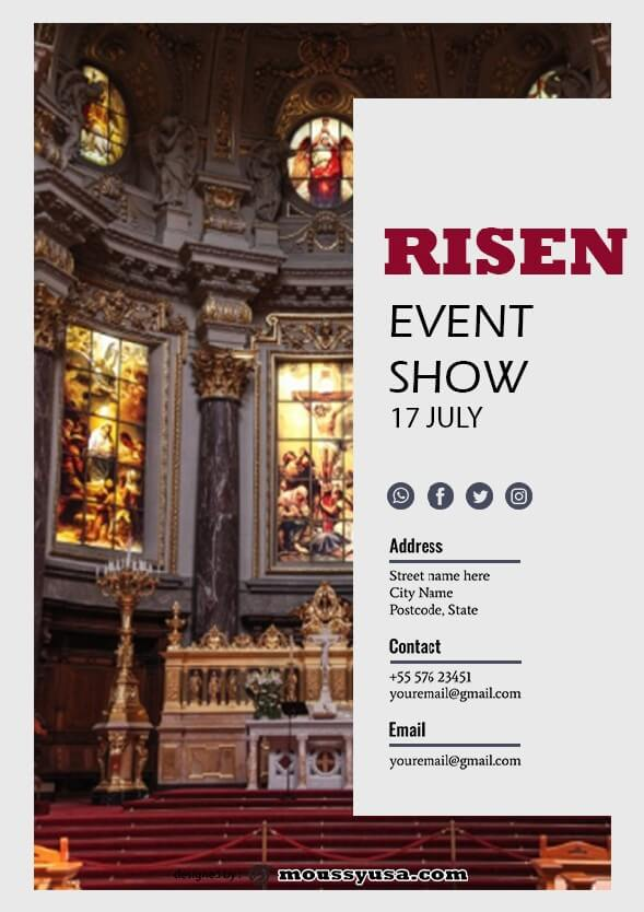 psd template for risen church flayer