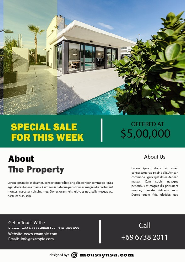 psd template for simple open house flyer
