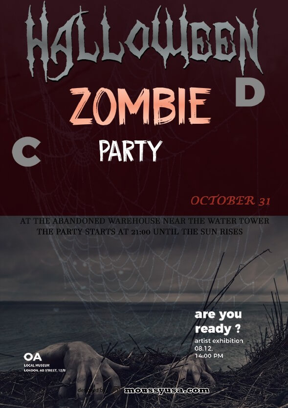 psd template for zombie halloween flayer