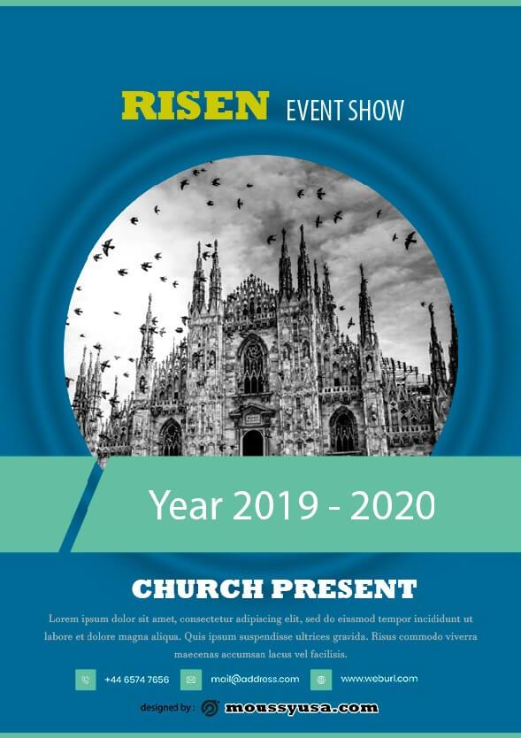 risen church flayer design psd