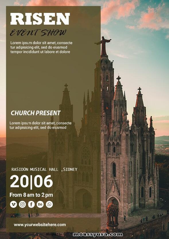 risen church flayer template design