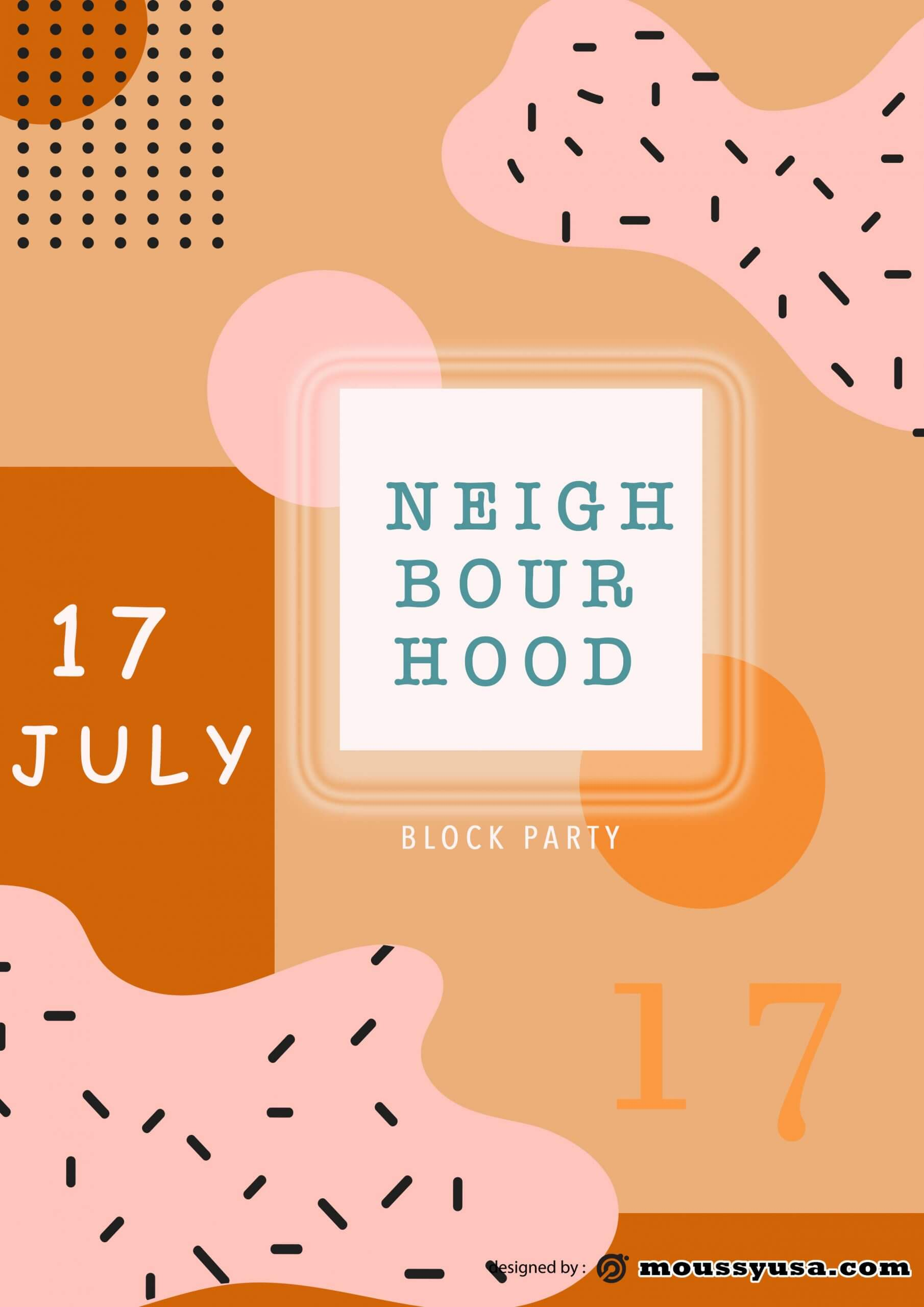 sample Neighbourhood Block Party Flyer templates