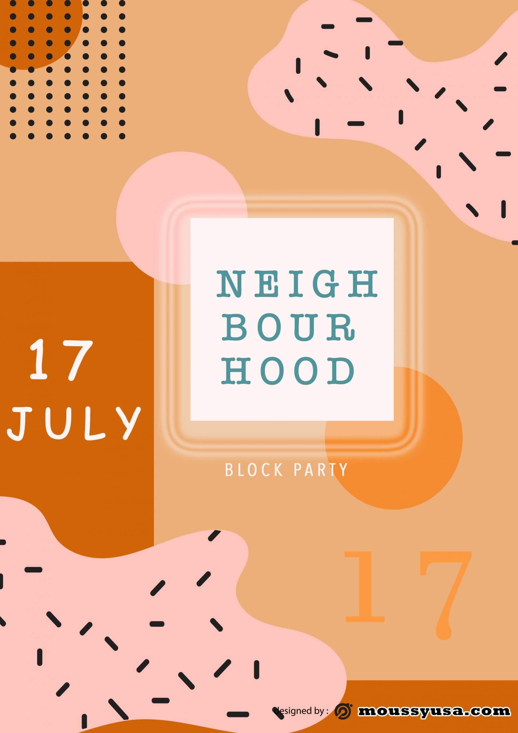 sample Neighbourhood Block Party Flyer templates