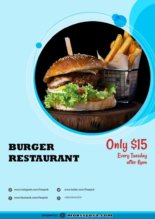 sample burger restaurant flyer templates