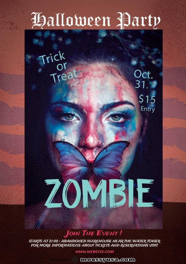 sample zombie halloween flayer templates