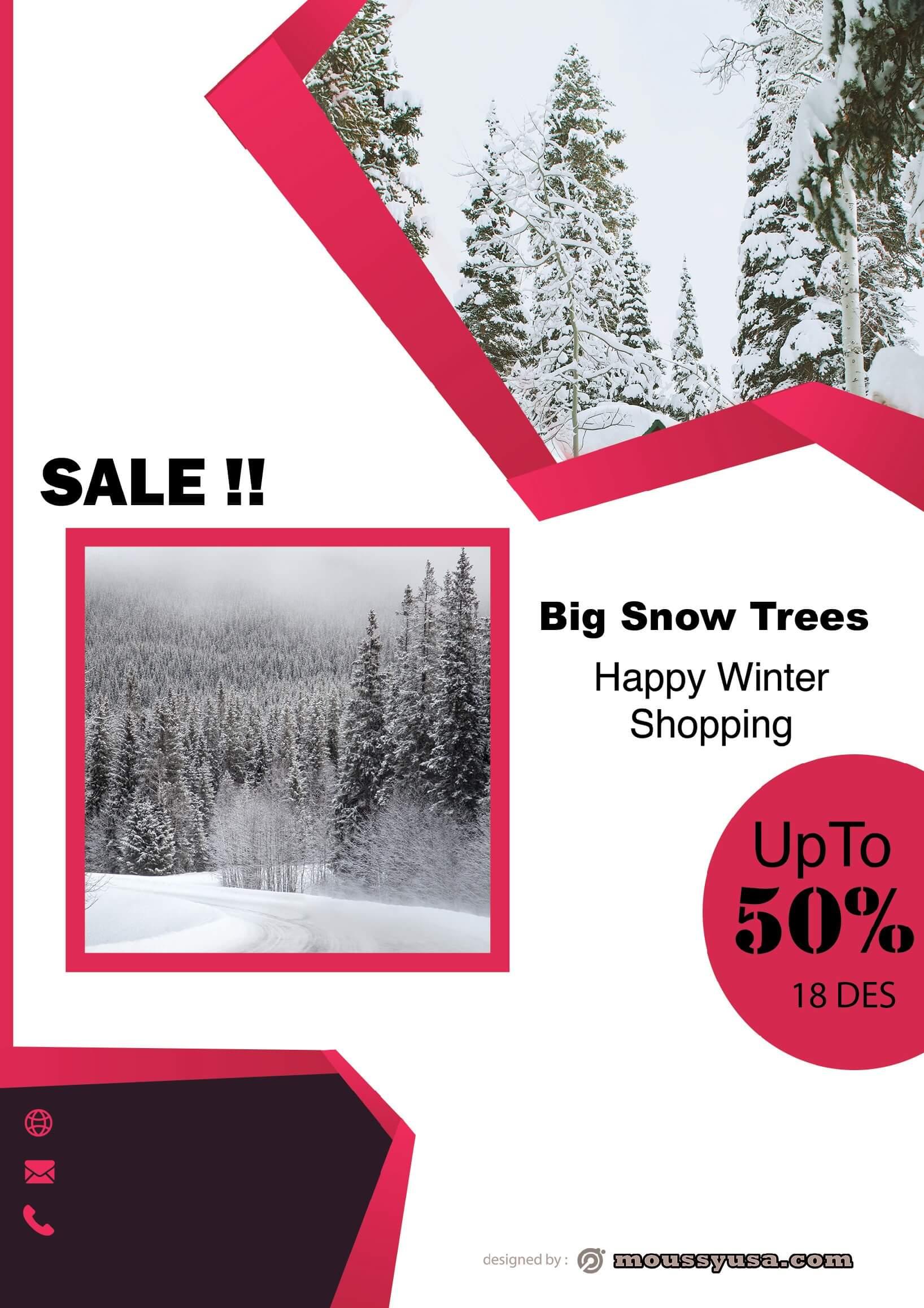 snow trees sale flyer design ideas