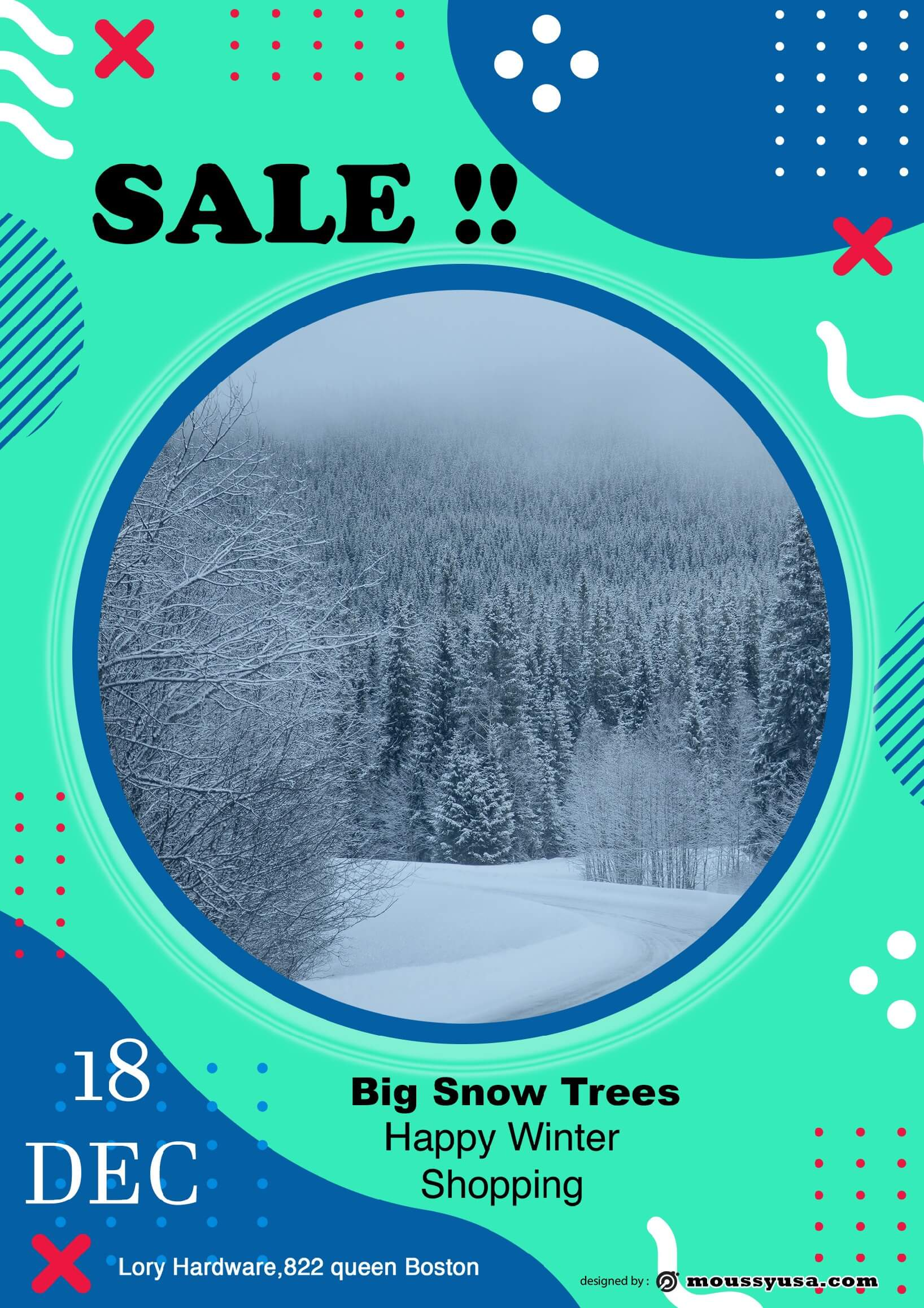 snow trees sale flyer design template