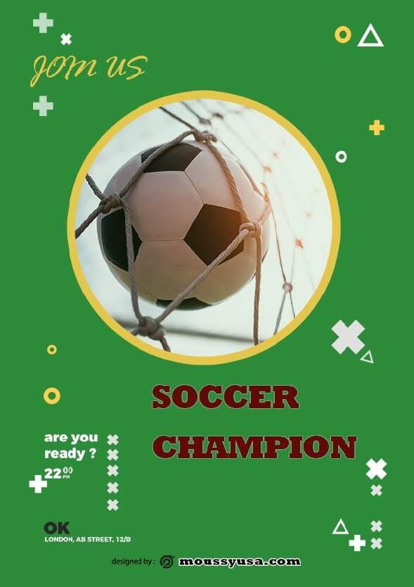 soccer game flayer design psd
