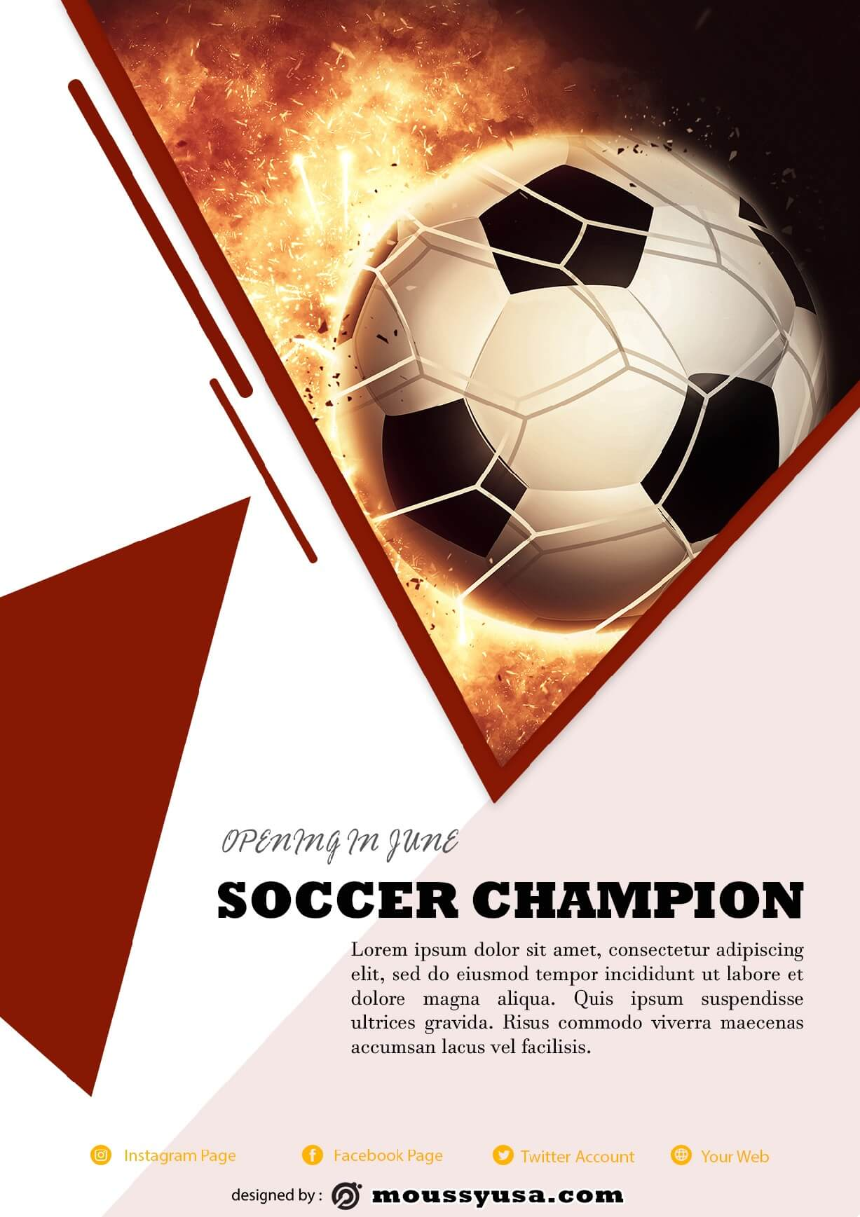soccer game flayer template design