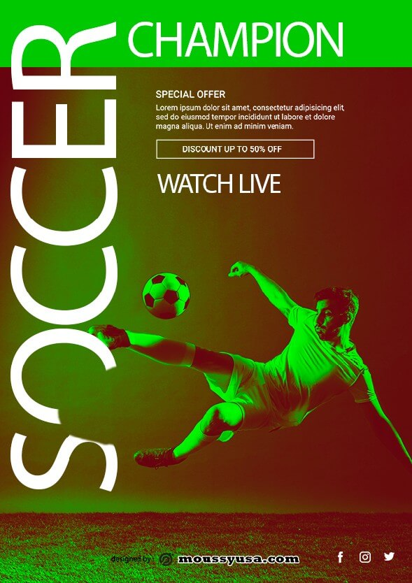 soccer game flayer template example