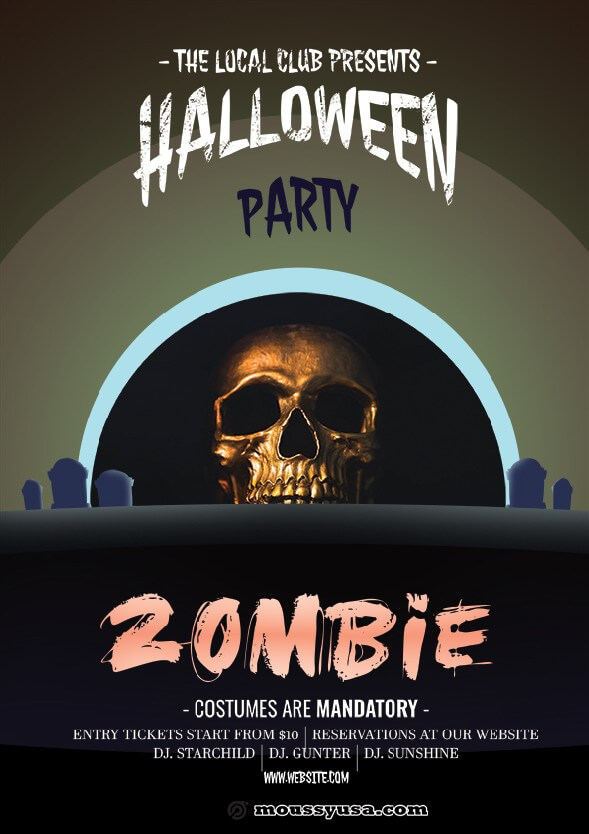 zombie halloween flayer design psd