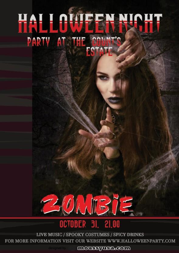 zombie halloween flayer design template