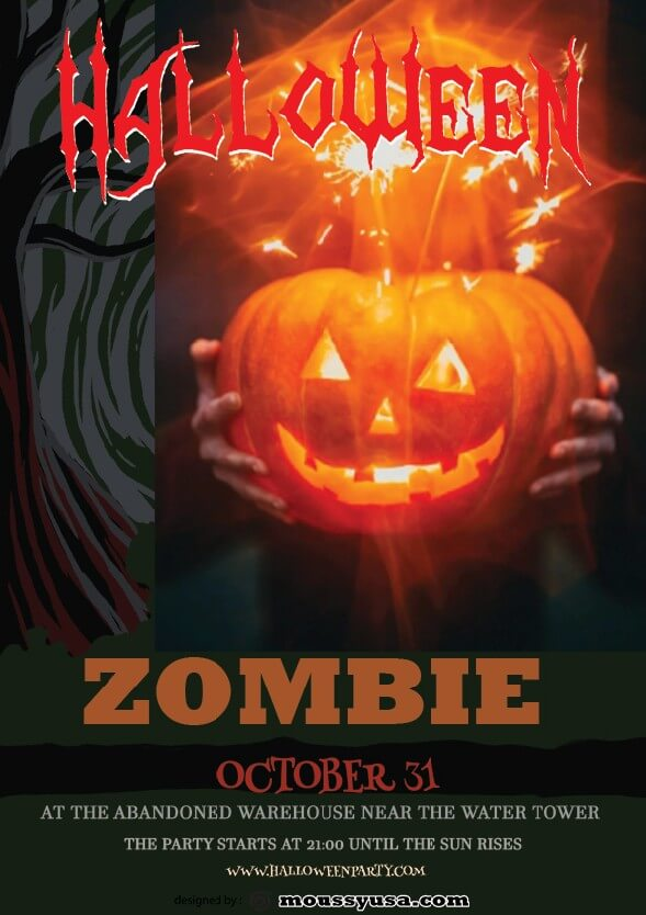 zombie halloween flayer template design
