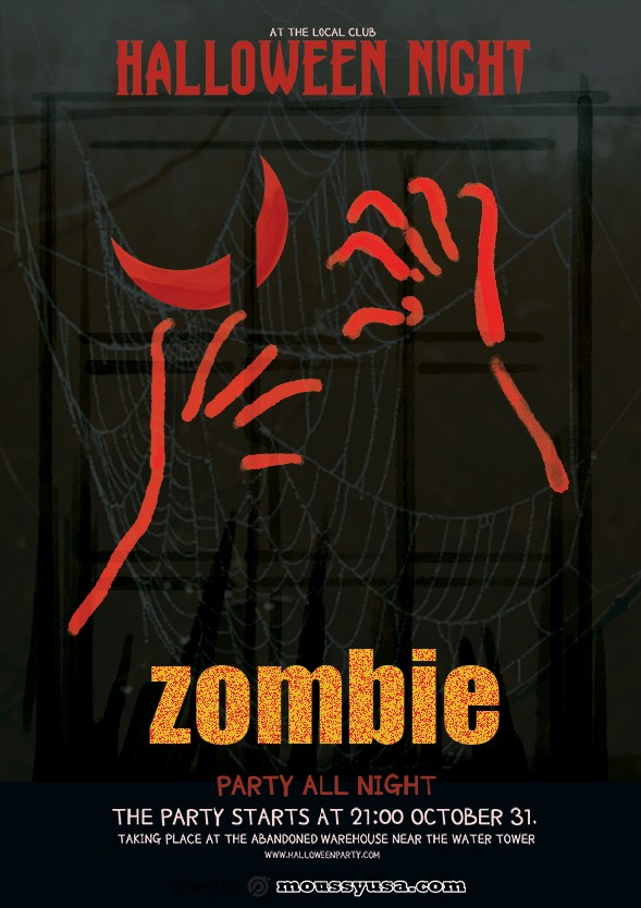 zombie halloween flayer template example