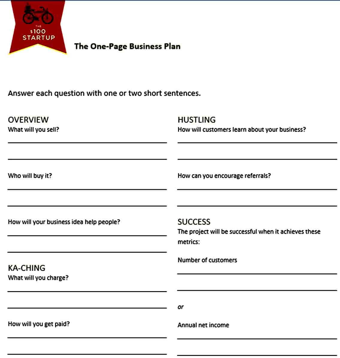 Templates Page Business Plan Te