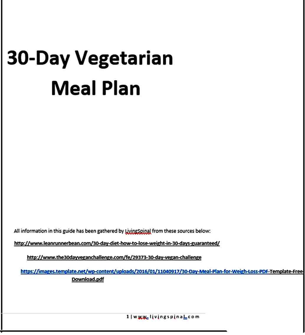 Templates Day Vegetarian Meal Plan