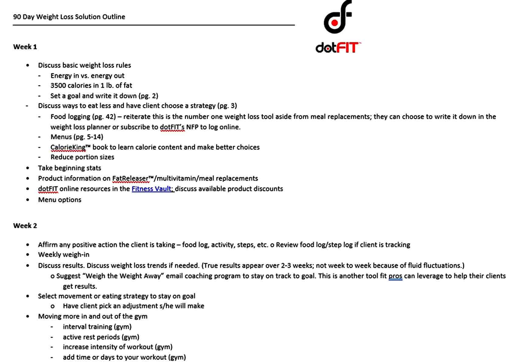 Templates Day Weight Loss Solution Outline Te