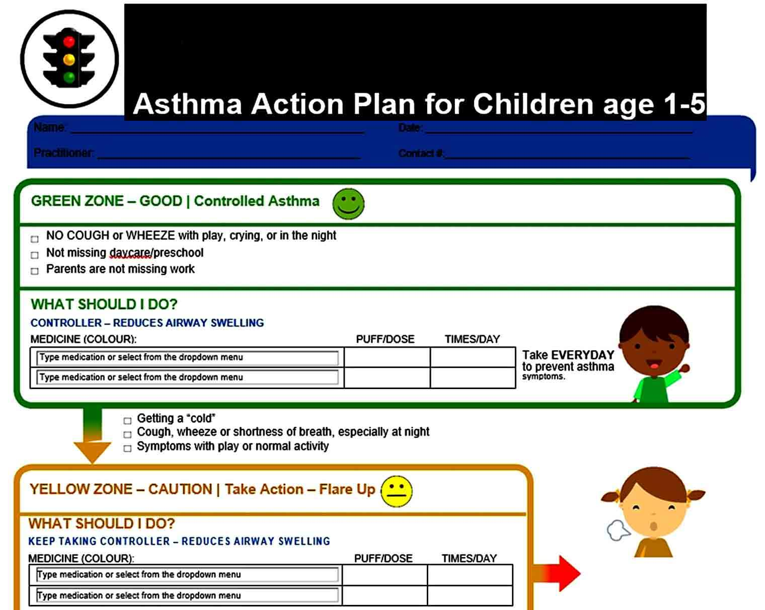 Templates Asthma Action Plan for Children Te