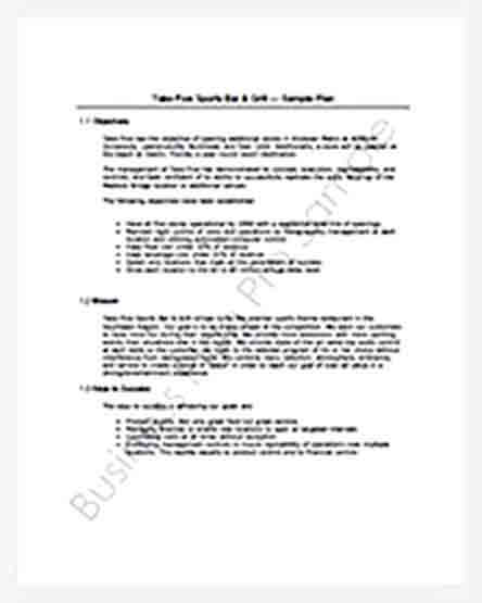 Templates Bar and Grill Business Plan Tem